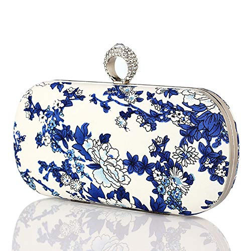 ZTDXCL Women's Clutch Bag Rhinestone Ring Evening Bag Evening Bag Bride Wedding Party Dress Handbag Wallet, Blue and White Porcelain