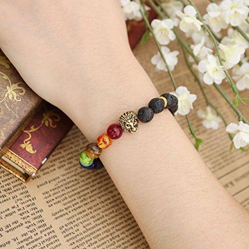 jovivi Bracelet Tibétain Extensible Élastique - 7 Chakra Perles de Lave Tête de Lion Doré Buddra Lama Homme Femme - 17.5cm 8mm