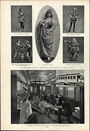 Brooklyn Trolley - Brooklyn NY Strike Trolley Ambulance Car 1895 vintage newsprint old sheet paper