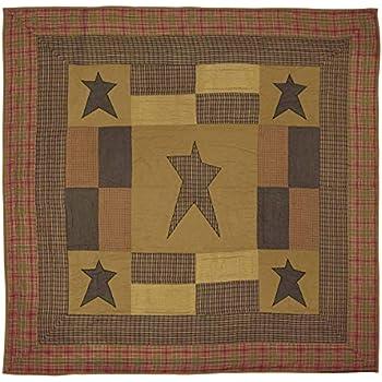 VHC Brands Primitive Bedding Sutton Cotton Pre-Washed Appliqued Star Queen Quilt, Dark Khaki Tan