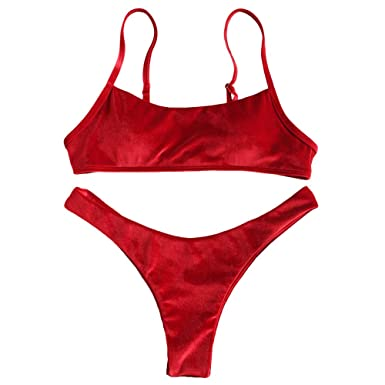 4ffff6fe42 Amazon.com: ZAFUL Women's Velvet High Cut Thong Bralette Bikini Set ...