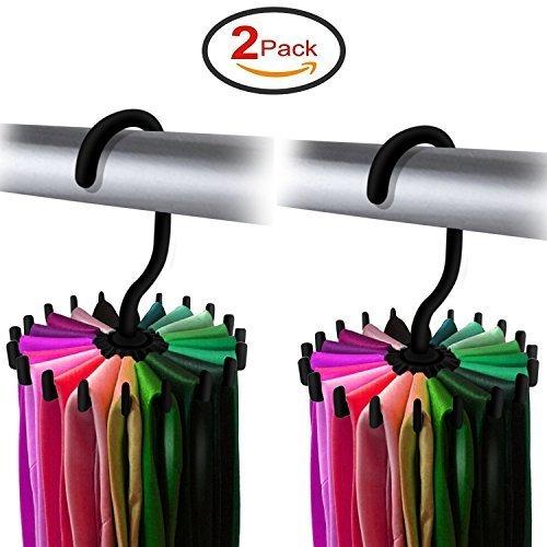 Yosoo 2 Pack 360 Degree Rotating Tie Rack Adjustable Tie Belt Scarves Hanger Holder Hook Ties Scarf for Closet Organizer Storage