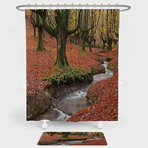 iPrint Landscape Shower Curtain Floor Mat Combination Set Flowing Stream Colorful Autumn Forest Leaves Gorbea Natural Park Spain decoration daily use Paprika Green by iPrint