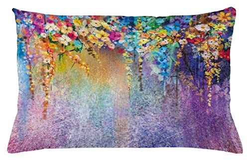 "Ambesonne Flower Throw Pillow Cushion Cover, Abstract Herbs Weeds Alternative Medicine Blossoms Ivy Back Florets Shrubs Design, Decorative Rectangle Accent Pillow Case, 26"" X 16"", Blue Purple"