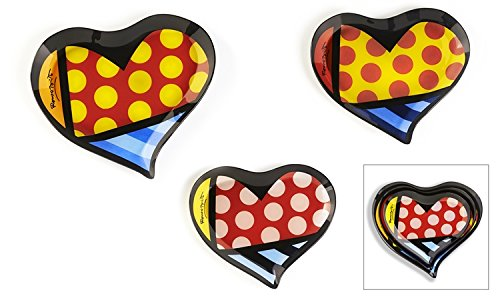 Romero Britto Painted Glass Heart Shaped Plates, Set of 3