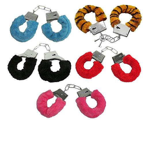 Handschellen Handfesseln Plüsch Scherzartikel Plüschhandschellen Hand Schellen - Mit Sicherheitshebel und 2 Schlüsseln - (schwarz)