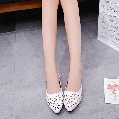 Cooljun Flacher Absatz Sandalen, Frauen Flach Aushöhlen Blume Form Nude Schuhe Spitzschuh Schuhe White