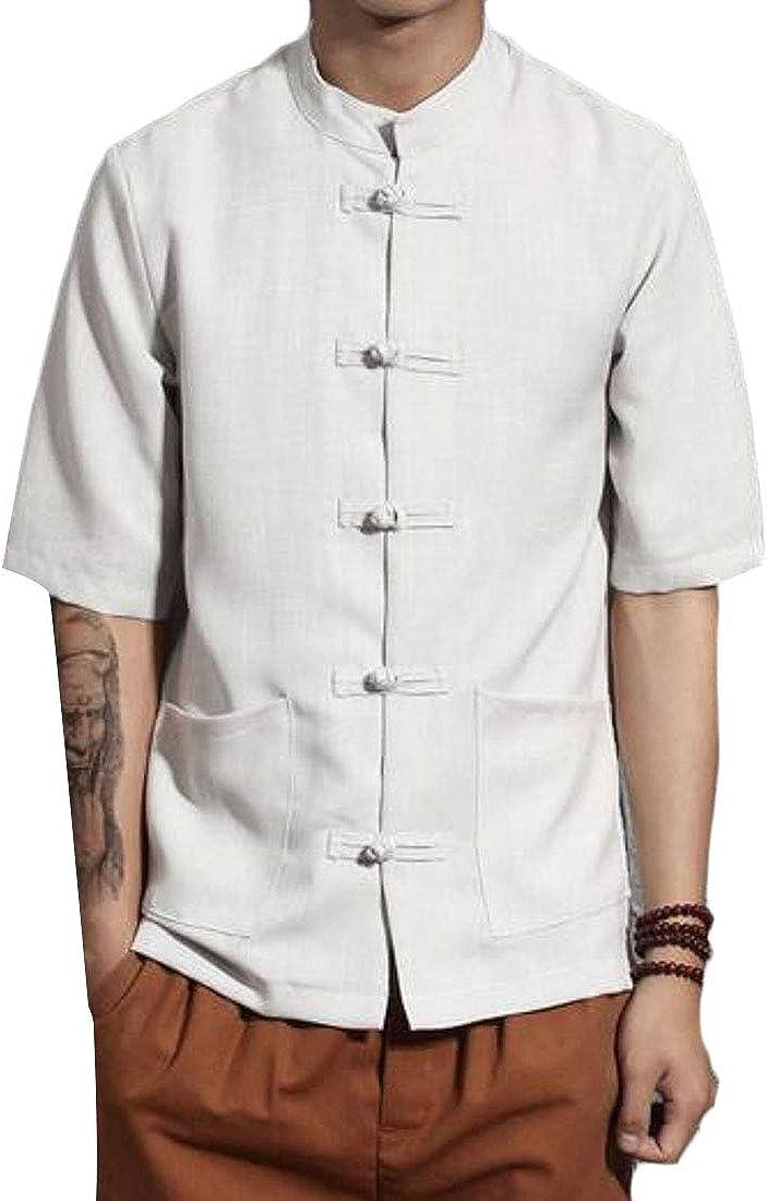 KLJR Men Cotton Linen Solid Color Short Sleeve Casual Plus Size Vintage Shirt