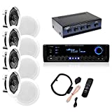 4 Pairs of 150W 5.25'' In-Wall / In-Ceiling Stereo White Speakers w/ 300W Digital Home Stereo Receiver w/ USB/SD/AUX Input, Remote & 4 Channel High Power Stereo Speaker Selector