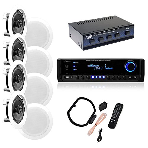 4 Pairs of 150W 5.25' In-Wall / In-Ceiling Stereo White Speakers w/ 300W Digital Home Stereo...