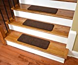 Dean Premium Stair Gripper Non-Slip Tape Free Pet Friendly DIY Nylon Carpet Stair Treads/Rugs 23'' x 8'' (15) - Color: Hazelnut Brown