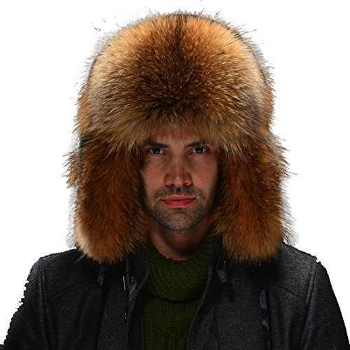 URSFUR Men's Raccoon Full Fur Russian Hats Natural Color
