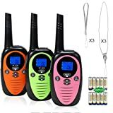 FREE TO FLY Walkie Talkies for Kids - 22 Channel FRS 2 Way Radios Party Toys for Camping/Hiking/Adventures 3.0 Miles Range Suit 6 UP Year Old Kids & Adults ( Three Packs with 9 Batteries )