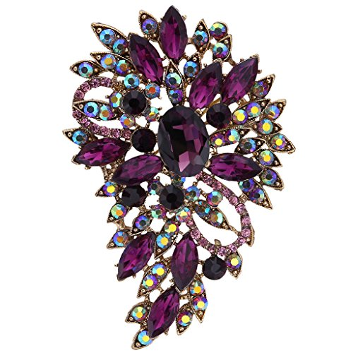 EVER FAITH Women's Austrian Crystal Vintage Inspired Flower Leaf Bouquet Brooch Purple Gold-Tone