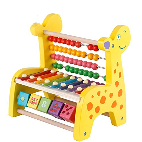 Children's educational toys Fawn Counting Beads Octave Knocking Piano Wooden Hand Knocking Xylophone ()