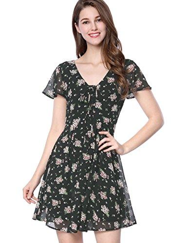 Allegra K Women's Floral Flouncing Sleeve A-Line Lace-up V-Neck Chiffon Dress Black XL (US (Floral Flare)