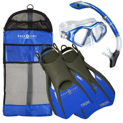 Aqua Lung Sport Admiral 2 LX, Island Dry LX & Trek Snorkeling Set Large Blue