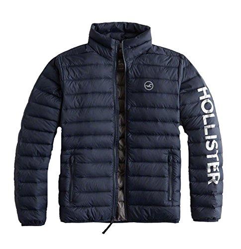 Hollister Mens Lightweight Down Puffer Jacket Outerwear  Navy Shine  L