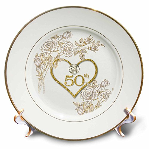 Anniversary Decorative Plate - 3dRose 50Th Golden Wedding Anniversary in Faux Gold Glitter Heart On White Plate, 8