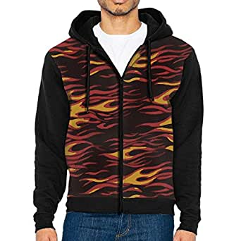 Men's Full Zip Hoodie Hot Flames Hooded Sweatshirt
