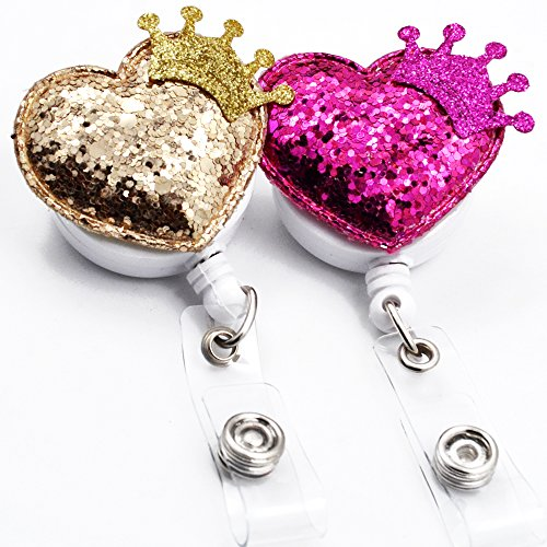 Crown Badge - Qinsuee Bling Love Heart Cute Crown Retractable ID/Name Badge Reel with Alligator Swivel Clip, 24 inch Retractable Cord, 2 Pack