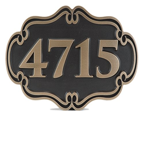 Victorian Style Address Plaque 12x9.5 - Raised Bronze Patina Coated by Atlas Signs and Plaques