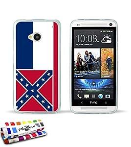 Carcasa Flexible Ultra-Slim HTC ONE / M7 de exclusivo motivo [Bandera Mississippi] [Transparente] de MUZZANO  + ESTILETE y PAÑO MUZZANO REGALADOS - La Protección Antigolpes ULTIMA, ELEGANTE Y DURADERA para su HTC ONE / M7
