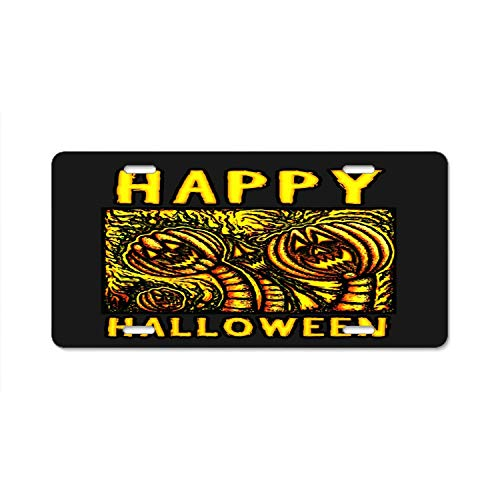 (ASUIframeNJK Abstract Happy Halloween Pumpkin Party License Plate Frame Car Licence Plate Cover Auto Tag Holder 6inch; x)