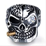 EH-LIFE Mens Retro Skull Smoking Rings Alloy Vintage White Crystal Rings Jewelry Gifts 7