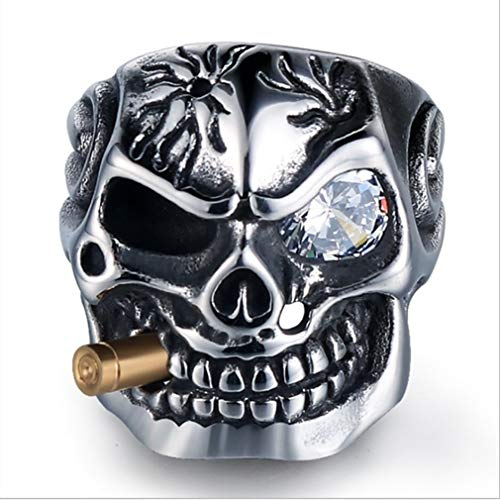 EH-LIFE Mens Retro Skull Smoking Rings Alloy Vintage White Crystal Rings Jewelry Gifts 7 by EH-LIFE (Image #4)