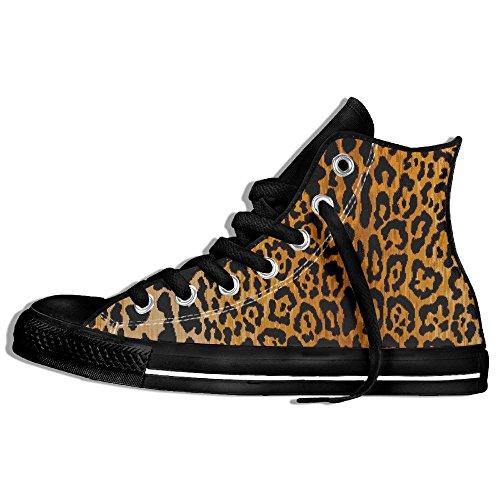 Classiche Sneakers Alte Scarpe Di Tela Antiscivolo Stampa Leopardo Casual Da Passeggio Per Uomo Donna Nero