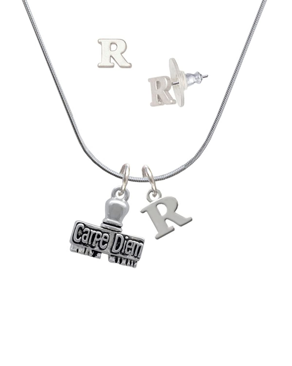 3-D ''Carpe Diem'' Stamp - R Initial Charm Necklace and Stud Earrings Jewelry Set