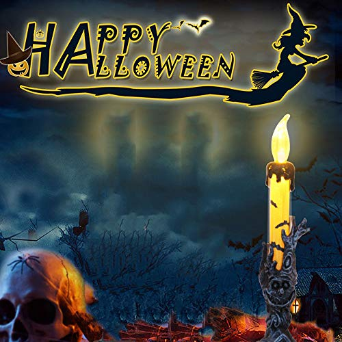 Basde Halloween Skeleton Skull Candle Holder, Halloween Candelabra with LED Flameless Candles Holder Battery Operated Design Unique Shape Skull Decoration for Party, Chrismas,Halloween (Yellow) -