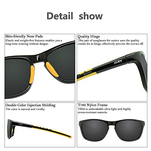 JOJEN Polarized Sports Sunglasses for men women Baseball Running Cycling Fishing Golf Tr90