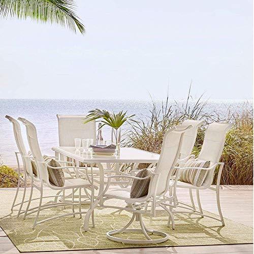 Hampton Bay Statesville Shell 7-Piece Aluminum Outdoor Dining Set (Piece Dining 7 Bay Hampton Patio Set)