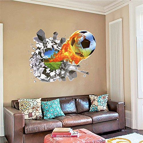 Mr.S Shop 3D Foodball Wall Stickers PVC Soccer Stickers Home Decor Removable Kids Room Decals - Removable Room