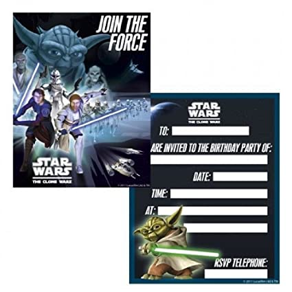 Amazon.com: star wars The Clone Wars invitaciones de fiesta ...