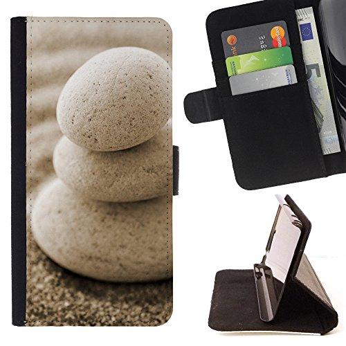 God Garden - FOR Apple Iphone 5C - Macro Rocks Sand Zen - Glitter Teal Purple Sparkling Watercolor Personalized Design Custom Style PU Leather Case Wallet Fli