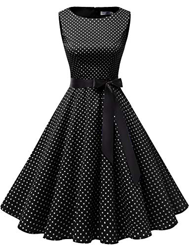 (Gardenwed Women's Audrey Hepburn Rockabilly Vintage Dress 1950s Retro Cocktail Swing Party Dress Black Small White Dot)