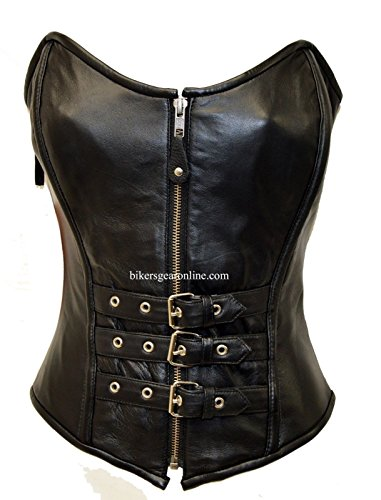 WOMEN'S REAL LAMB LEATHER REINFORCED STEEL BONED SEXY CORSET BACK LACES BLACK (Small Regular) from Dealer