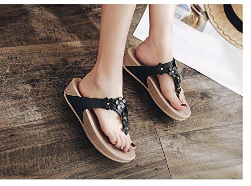 spiaggia freddi Summer fiori e Nuova piedi pantofole maschere di XIAOGEGE costa Donna fondo piedi comfort Nero skid spesso qO5Ia7