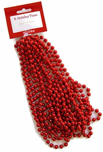 Holiday Time Red Bead Garland - -