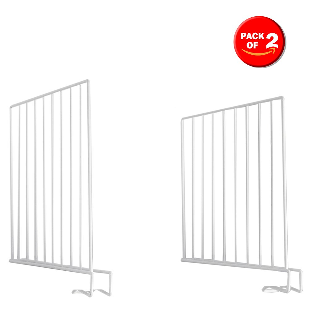 Home Basics Wire Closet Organizers for Tees, Shirts, Sweaters, Linen, Towels, Purses Etc. Space Saver Shelf Divider, White, Set of 2 HDS Trading Corp SS45133