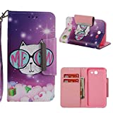 Firefish Galaxy J3 2017/J327 Case,3D Printing PU Leather Magnetic Closure Wallet Case [Durable] Slim Kickstand Folding Case Credit Card Holder for Girls for Samsung Galaxy J3 2017/J327 -White cat
