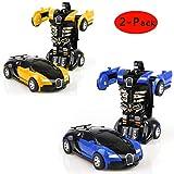 Cartoon Crash Deformation Transforming Robot Car Toy Kids Game Gift Electrical Safety (2pcs, Yellow&Blue)