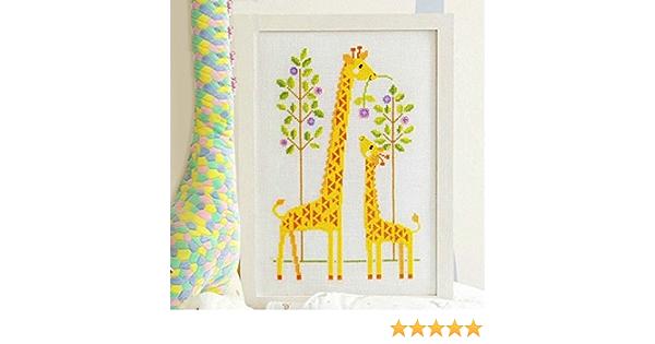 XIAOERLANG Giraffe Kreuzstich Kit 14ct 11ct Count Printed Canvas Stiche Stickerei DIY Handgefertigte Hand Cross Stitch Fabric CT Number : 11ct Print Canvas, Size : Cotton Thread