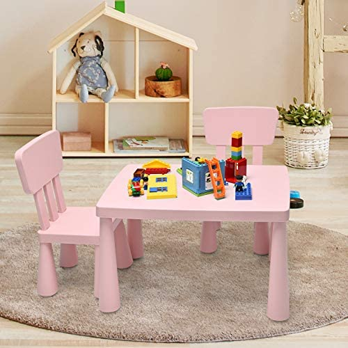 Costzon Kids Table And Chair Set, 3-Piece Set Toddler Furniture For Reading, Drawing, Snack Time, Arts Crafts, Playroom, Children Multi Activity Table Desk Set 2 Chairs Included (Pink)