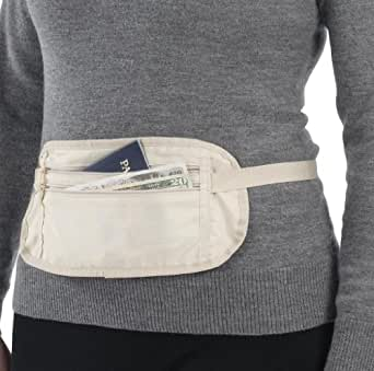 Smooth Travel Waist Money Belt Travel Pouch 2 Pockets Money Belt