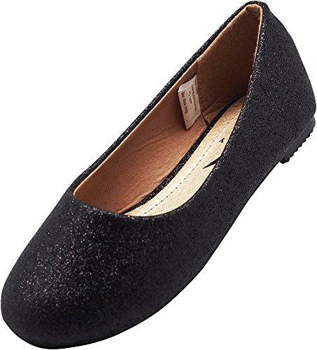 NORTY Little Girls Glitter Ballet Flat, Black 40086-2MUSLittleKid (Slip On Girls Shoes Size 2)