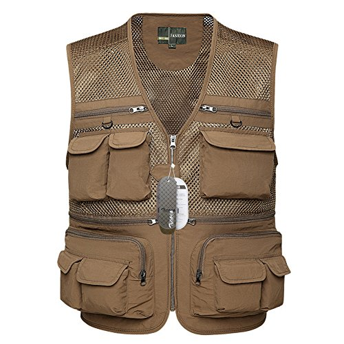 Zicac Mens Outdoor Breathable Mesh Vest Multi-pocketed Waistcoat for Safari...